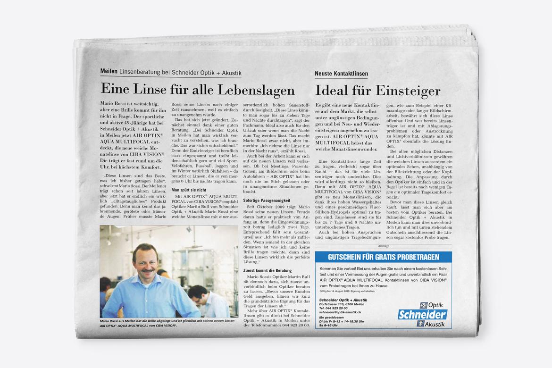 Publireportagen Zeitung Artikel Corporate Communication Kommunikationsagentur Zürich